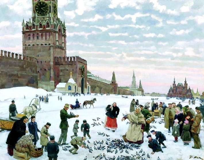 K.Yuon Feeding pigeons in Red square